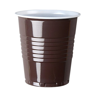 7oz PS Squat Heavyweight Brown and White Vending Cup Image